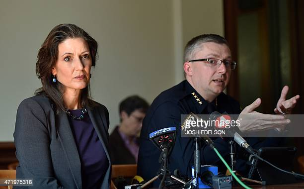 Oakland Mayor Libby Schaaf and Oakland Police Chief Sean Whent speak to members of the media about vandalism and property damage that ensued during...