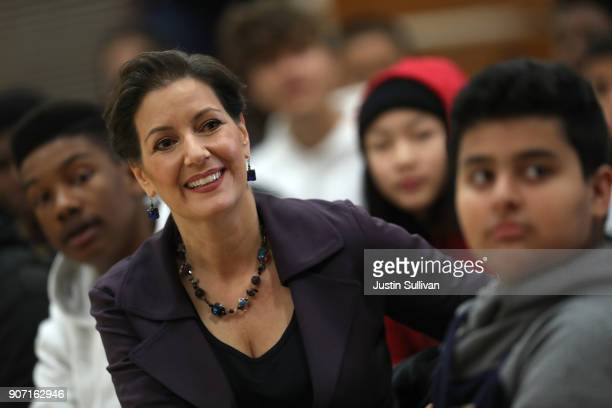 Oakland mayor Libby Schaaf looks on during an assembly at Edna Brewer Middle School about the US Constitution on January 19 2018 in Oakland...