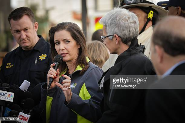 Oakland Mayor Libby Schaaf speaks at a media event following a warehouse fire that has claimed the lives of at least thirtythree people on December 4...