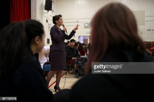 Oakland mayor Libby Schaaf speaks to students at Edna Brewer Middle School about the US Constitution on January 19 2018 in Oakland California Oakland...