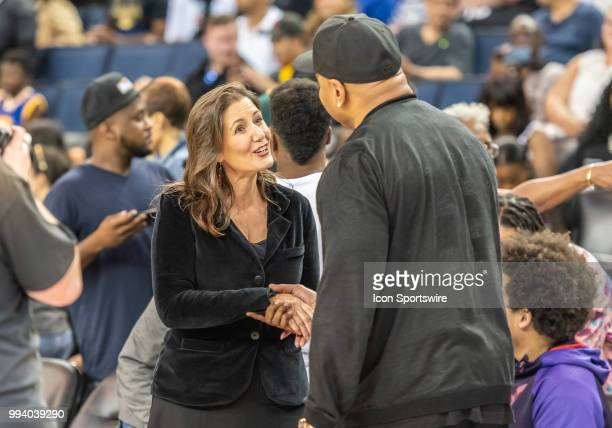 Oakland mayor Libby Shaff greets LL Cool J rapper and entertainer between game 1 and game 2 in week three of the BIG3 3on3 basketball league on...