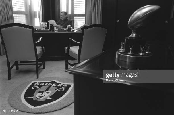 Oakland Raiders coach, Al Davis in his office, 1975. Davis was the principal owner and general manager of National Football League team, the Oakland...