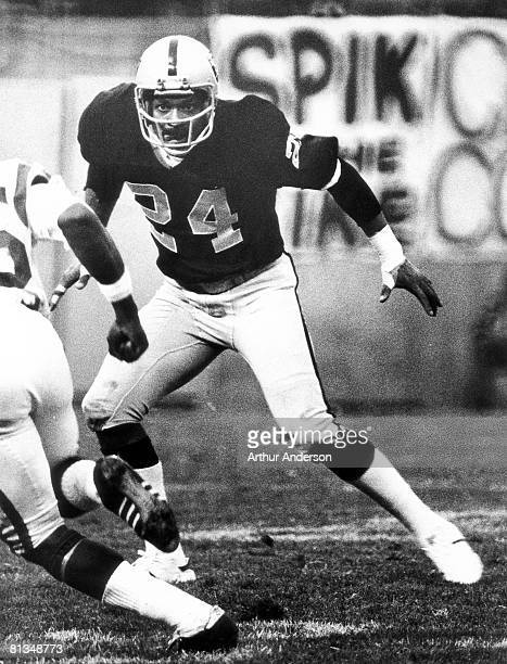 Oakland Raiders defensive back Willie Brown elected to the Pro Football Hall of Fame class of 1984 shadows a receiver during a 3513 victory over the...