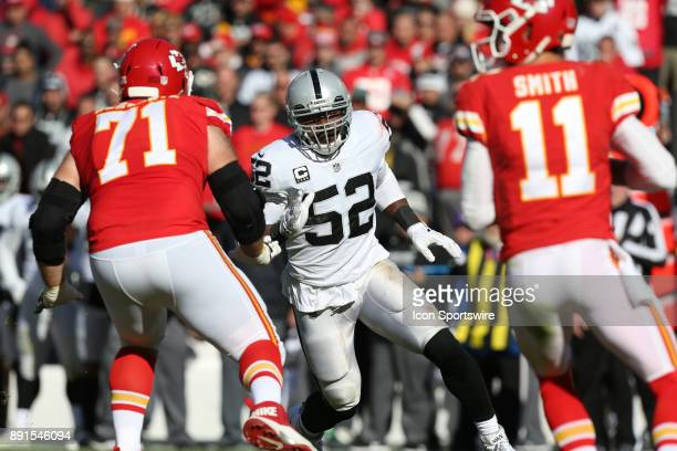 Oakland Raiders defensive end Khalil Mack tries to get past Kansas City Chiefs offensive tackle Mitchell Schwartz on his way to quarterback Alex...