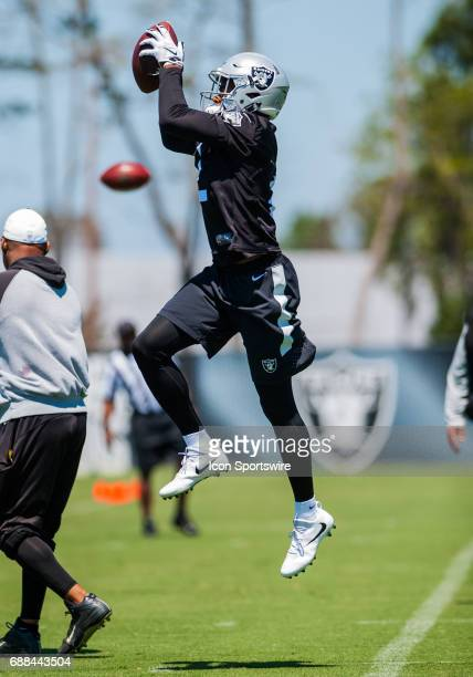 Oakland Raiders Gareon Conley leaps for a ball during the Oakland Raiders OTA at the Raiders Training Facility in AlamedaCA on May 23rd 2017