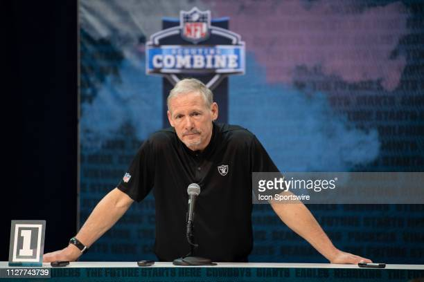 Oakland Raiders general manager Mike Mayock answers questions during the NFL Scouting Combine on February 27 2019 at the Indiana Convention Center in...