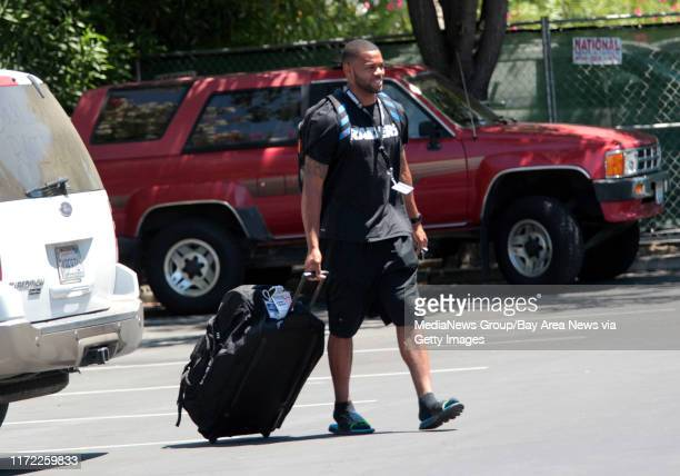 Oakland Raiders' George Atkinson arrives at training camp in Napa Calif Wednesday July 23 2014