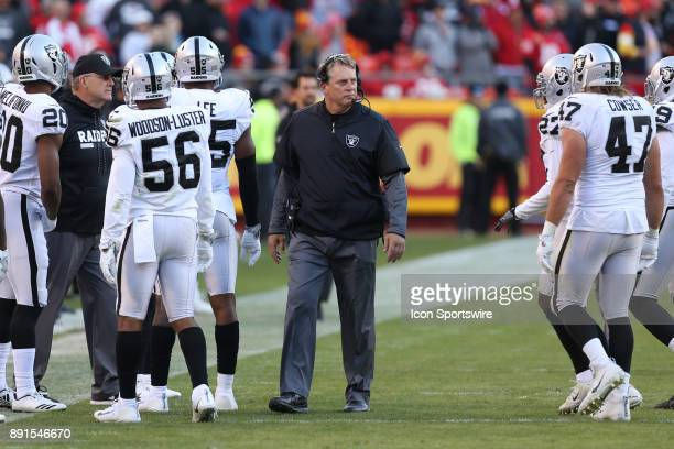Oakland Raiders head coach Jack Del Rio during a time out in the fourth quarter of an AFC West showdown between the Oakland Raiders and Kansas City...
