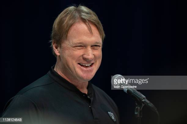 Oakland Raiders head coach Jon Gruden answers questions from the media during the NFL Scouting Combine on February 28 2019 at the Indiana Convention...