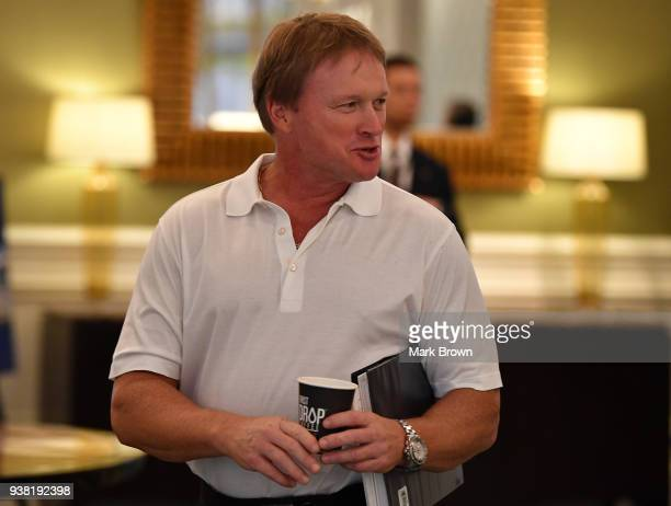 Oakland Raiders head coach Jon Gruden attends the 2018 NFL Annual Meetings at the Ritz Carlton Orlando Great Lakes on March 26 2018 in Orlando Florida
