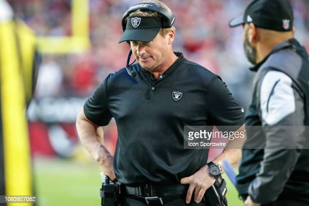 Oakland Raiders head coach Jon Gruden looks on during the NFL football game between the Oakland Raiders and the Arizona Cardinals on November 18 2018...
