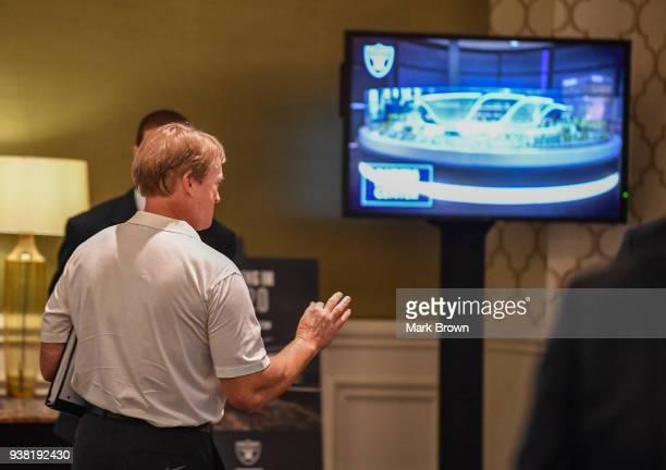 Oakland Raiders head coach Jon Gruden previews the new Raiders stadium for Las Vegas during the 2018 NFL Annual Meetings at the Ritz Carlton Orlando...
