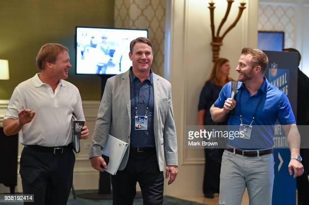 Oakland Raiders head coach Jon Gruden Washington Redskins head coach Jay Gruden and Los Angeles Rams head coach Sean McVay attend meetings during the...