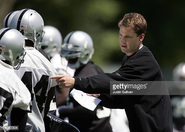 Oakland Raiders head coach Lane Kiffin directs a player during the second day of the Oakland Raiders mini-camp May 5, 2007 in Alameda, California.