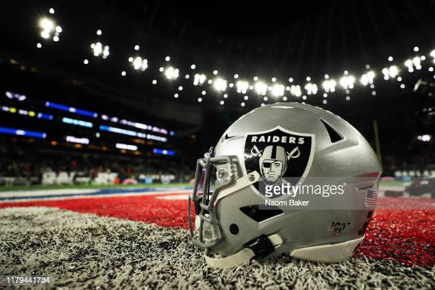 Oakland Raiders helmet is seen on the field after the game between Chicago Bears and Oakland Raiders at Tottenham Hotspur Stadium on October 06, 2019...