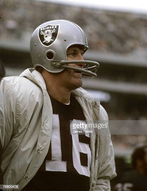Oakland Raiders kicker George Blanda inducted into the Pro Football Hall of Fame class of 1981 waits on the sidelines during a game in 1970