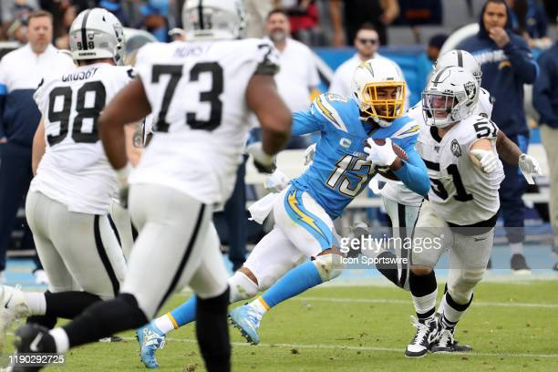 Oakland Raiders Linebacker Will Compton tries to tackle Los Angeles Chargers Wide Receiver Keenan Allen during an NFL game between the Oakland...