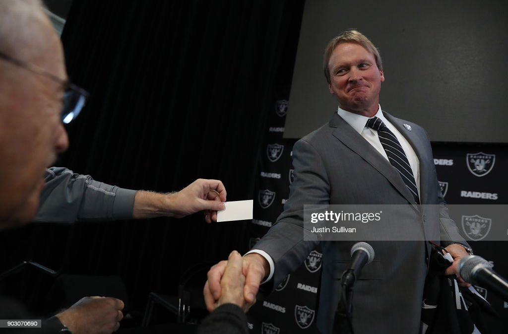 Oakland Raiders new head coach Jon Gruden greets reporters during a news conference at Oakland Raiders headquarters on January 9, 2018 in Alameda, California. Jon Gruden has returned to the Oakland Raiders after leaving the team in 2001.