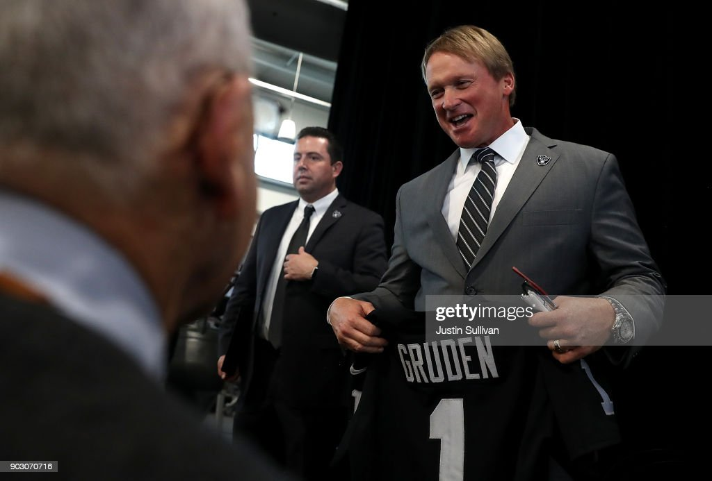 Oakland Raiders new head coach Jon Gruden looks on during a news conference at Oakland Raiders headquarters on January 9, 2018 in Alameda, California. Jon Gruden has returned to the Oakland Raiders after leaving the team in 2001.