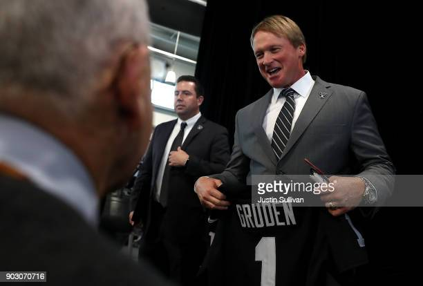 Oakland Raiders new head coach Jon Gruden looks on during a news conference at Oakland Raiders headquarters on January 9 2018 in Alameda California...