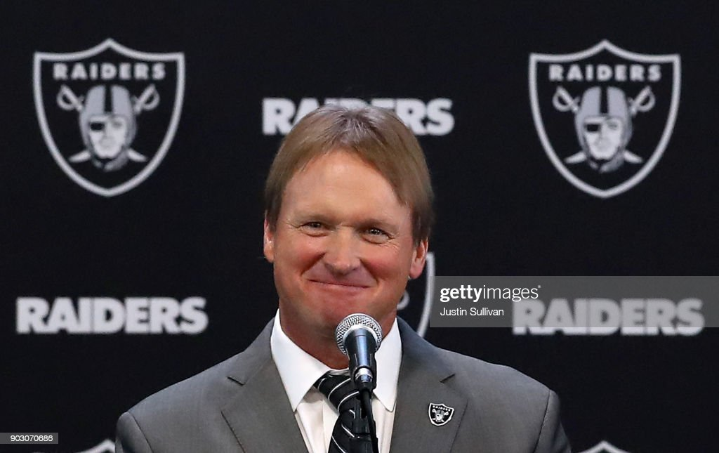 Oakland Raiders new head coach Jon Gruden speaks during a news conference at Oakland Raiders headquarters on January 9, 2018 in Alameda, California. Jon Gruden has returned to the Oakland Raiders after leaving the team in 2001.