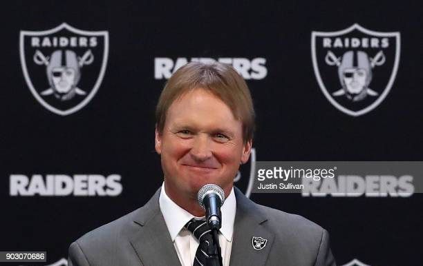 Oakland Raiders new head coach Jon Gruden speaks during a news conference at Oakland Raiders headquarters on January 9 2018 in Alameda California Jon...