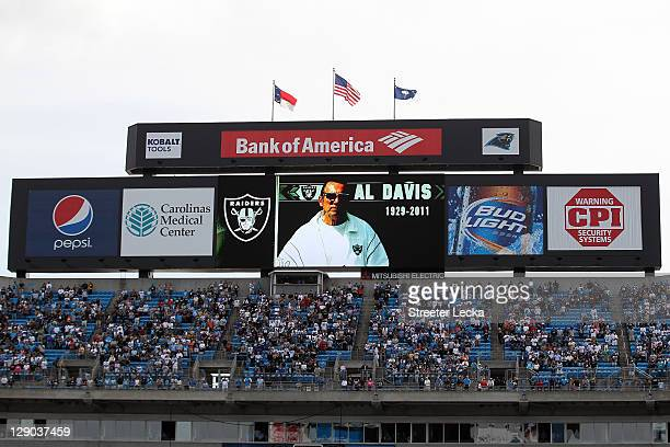 Oakland Raiders owner Al Davis is remembered after his passing before the New Orleans Saints against the Carolina Panthers at Bank of America Stadium...