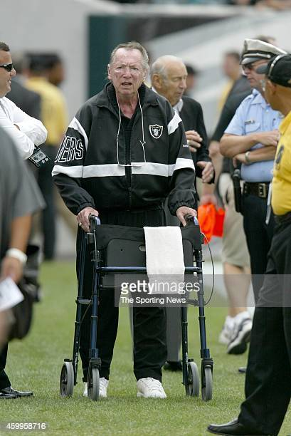 Oakland Raiders owner Al Davis is seen on the field before a game against the Philadelphia Eagles on September 25 2005 at Lincoln Financial Field in...