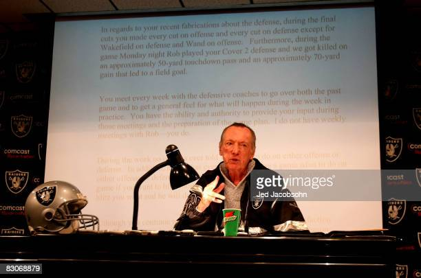 Oakland Raiders owner Al Davis speaks during a press conference to announce the firing of head coach Lane Kiffin of the Oakland Raiders at the their...