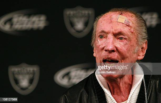 Oakland Raiders owner Al Davis speaks to reporters after introducing Hue Jackson as the new head coach of the Oakland Raiders on January 18, 2011 in...