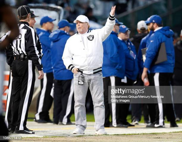 Oakland Raiders owner Mark Davis gestures on the sidelines before their game against the Denver Broncos for their NFL game at the Coliseum in Oakland...