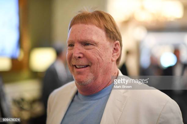 Oakland Raiders owner Mark Davis leaves the final meetings at the 2018 NFL Annual Meetings at The RitzCarlton Orlando Great Lakes on March 28 2018 in...