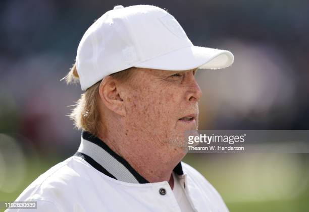 Oakland Raiders owner Mark Davis looks on during pregame warm ups prior to the start of an NFL football game against the Tennessee Titans at...