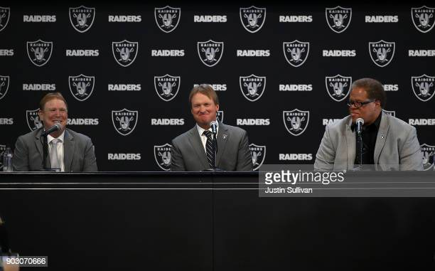 Oakland Raiders owner Mark Davis Oakland Raiders new head coach Jon Gruden and Oakland Raiders general manager Reggie McKenzie look on during a news...