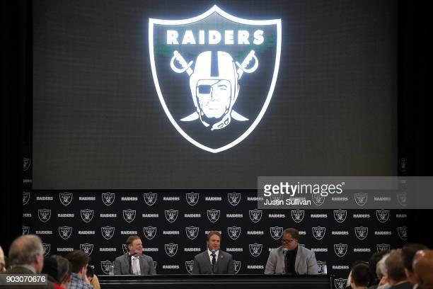 Oakland Raiders owner Mark Davis Oakland Raiders new head coach Jon Gruden and Oakland Raiders general manager Reggie McKenzie speak during a news...