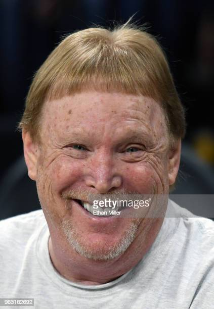 Oakland Raiders owner Mark Davis smiles as he watches the Seattle Storm take on the Las Vegas Aces during the Aces' inaugural regularseason home...