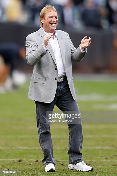 Oakland Raiders owner Mark Davis stands on the field prior to their NFL game against Kansas City Chiefs at Oco Coliseum on December 6 2015 in Oakland...