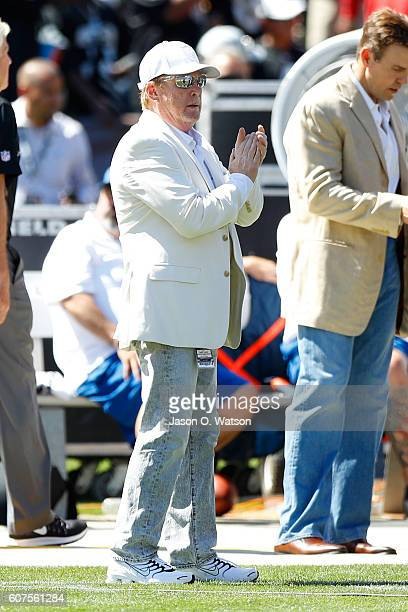 Oakland Raiders owner Mark Davis stands on the sidelines prior to their NFL game against the Atlanta Falcons at OaklandAlameda County Coliseum on...