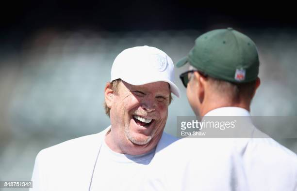 Oakland Raiders owner Mark Davis talks to Christopher Wold Johnson the brother of the New York Jets owner Woody Johnson and the head of daytoday...