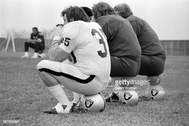 Oakland Raiders players during a match against the Dallas Cowboys in Oakland California circa 1975