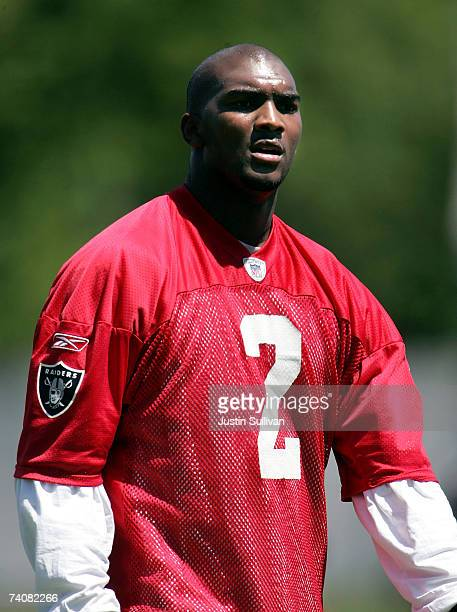 Oakland Raiders rookie quarterback JaMarcus Russell walks off the field during the second day of the Oakland Raiders mini-camp May 5, 2007 in...