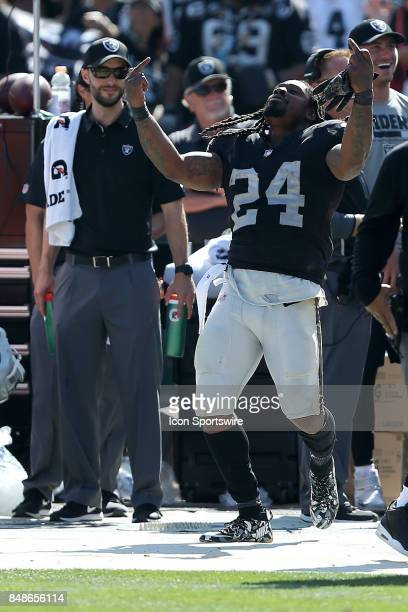 Oakland Raiders running back Marshawn Lynch expresses himself during an NFL game against the New York Jets on September 17 2017 at Oakland Alameda...