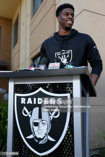 Oakland Raiders safety Obi Melifonwu answers questions during a news conference at the team's training camp in Napa Calif on Friday July 28 2017...