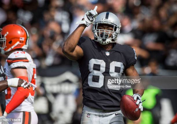 Oakland Raiders wide receiver Amari Cooper celebrates a touchdown against the Cleveland Browns on Sunday Sept 30 2018 at the OaklandAlameda County...
