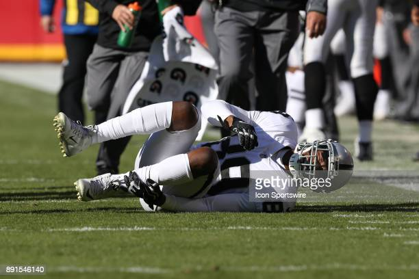 Oakland Raiders wide receiver Amari Cooper goes down with an ankle injury in the second quarter of an AFC West showdown between the Oakland Raiders...