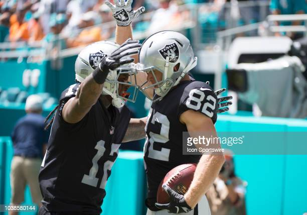 Oakland Raiders Wide Receiver Jordy Nelson scores a touchdown and celebrates with Oakland Raiders Wide Receiver Martavis Bryant during the NFL...