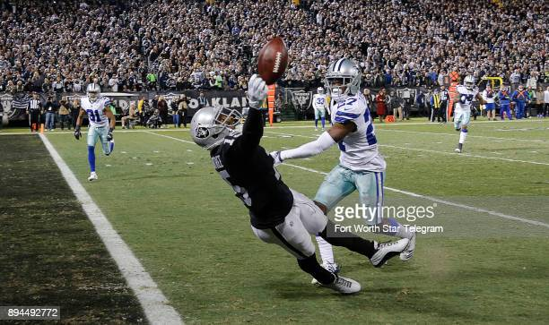 Oakland Raiders wide receiver Michael Crabtree cannot reach a pass at the one yard line as Dallas Cowboys cornerback Jourdan Lewis defends in the...