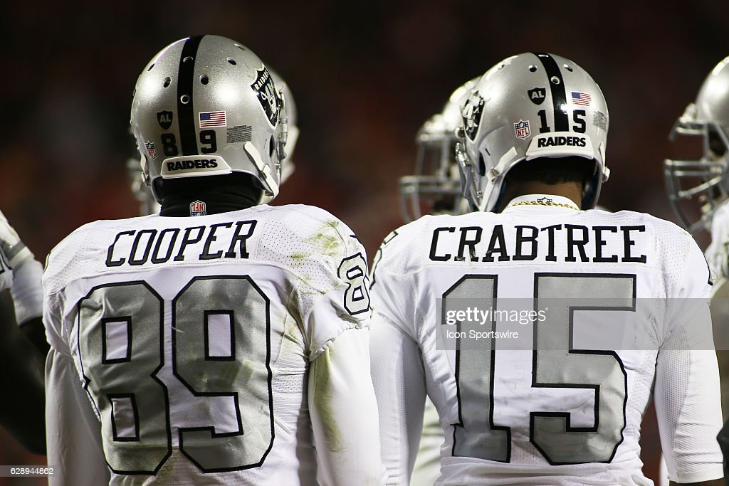 Oakland Raiders wide receivers Amari Cooper (89) and Michael Crabtree (15) during a Thursday night AFC West showdown between the Oakland Raiders and Kansas City Chiefs on December 08, 2016 at Arrowhead Stadium in Kansas City, MO. The Chiefs won 21-13.
