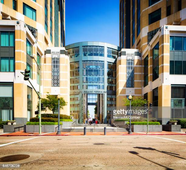 oakland ronald v dellum's federal building facade on jefferson street - oakland california stock photos and pictures