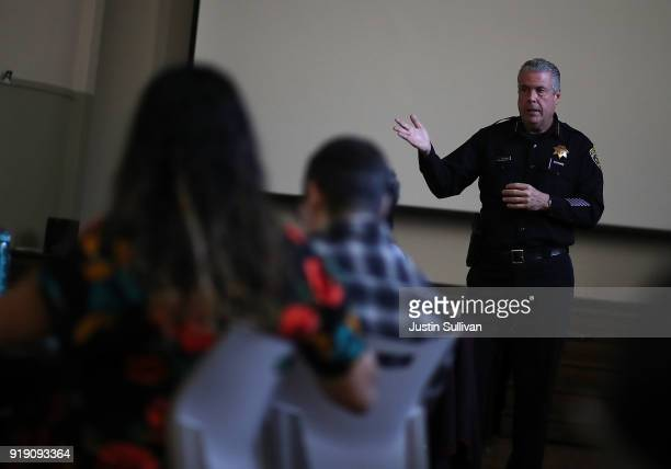 Oakland School Police chief Jeff Godown talks with Oakland Unified School District staff during an active shooter training at Cole Elementary School...